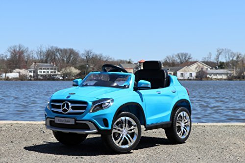 - First Drive Mercedes Benz GLA Blue 12v Kids Cars - Dual Motor Electric Power Ride On Car with Remote, MP3, Aux Cord, Led Headlights, and Premium Wheels