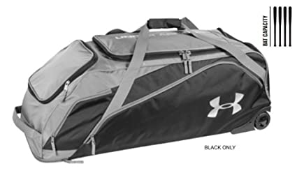 dabbb88b23 Under Armour UA Unisex On Deck Baseball Roller Equipment Bag Black  UASB-ODRB2