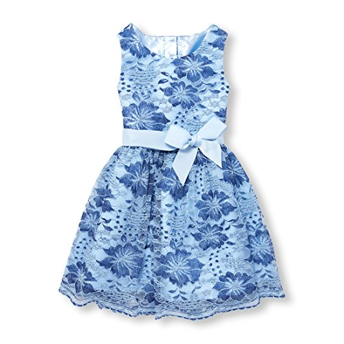 The Children's Place Big Girls' Sleeveless Dressy Dress, Party Blue 6026, 12 -
