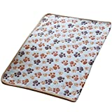Gilroy Pet Dog Puppy Fleece Soft Warm Blanket Bed Mat with Cute Paw Print (S, White )
