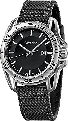 Men's Calvin Klein ck Earth Black Fabric Strap Watch K5Y31TB1