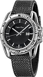 Men's Calvin Klein ck Earth Black Fabric Strap Watch K5Y31TB1