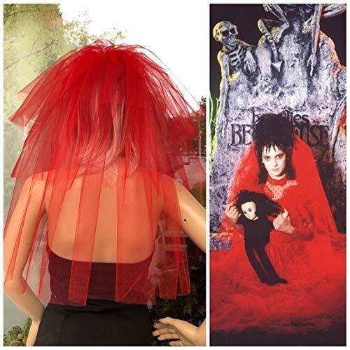 Amazon Com Halloween Party Veil 3 Tier Red Halloween Costume Idea Lydia Deetz Halloween Costume Veil Bachelorette Veil Long Length Halloween Night Handmade