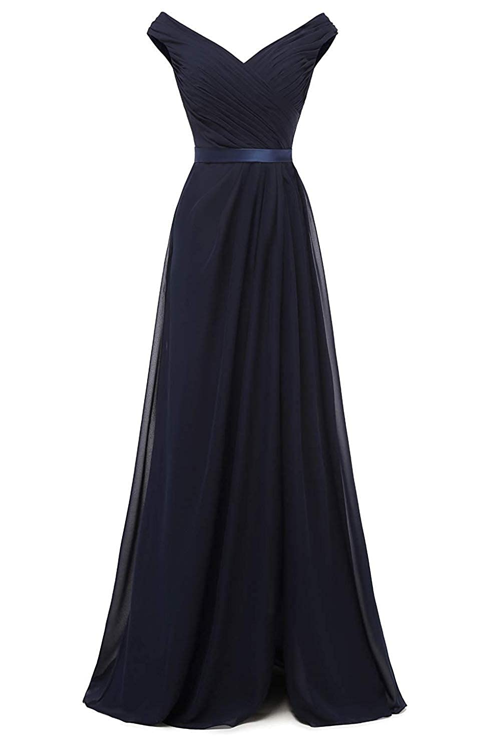 Navy bluee CongYunGe Women's Off Shoulder Bridesmaid Dress Long Pleated Prom Dress 2019