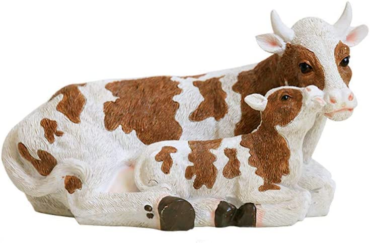 l.e.i. Cow and Calf Statue for Outdoor Garden Ornament,Resin Farm Animal Figurine Fairy Garden Accessories
