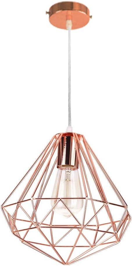 Industrial Minimalista Chandelier Light Lámpara de Techo Shades Lámpara De Hierro Forjado,Lámpara Colgante Forma Prismático de Diamante,Oro Rose