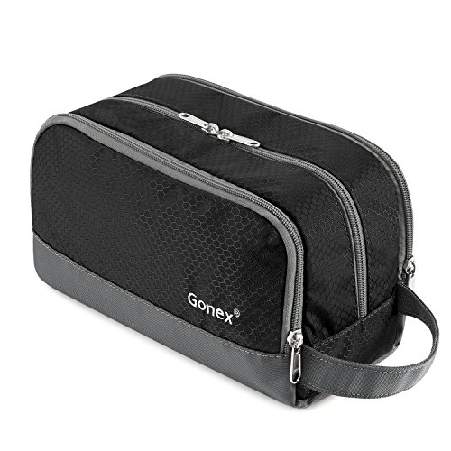 (Travel Toiletry Bag Nylon, Gonex Dopp Kit Shaving Bag Toiletry Organizer Black)