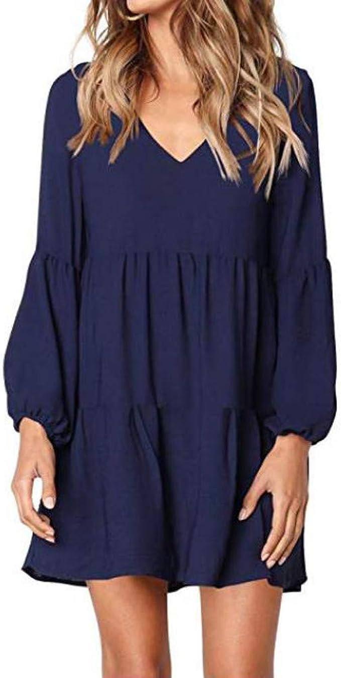 NPRADLA 20 Herbst Winter Damen Kleider Herbst Lang Elegant Frauen  Einfarbig Laterne Langarm V Ausschnitt Drapierte Knielanges Kleid