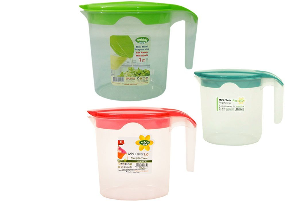 3 x Plastic 1 litre Jugs with Coloured Lid - Squash Water Fruit Juice Kitchen Product