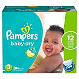 Branded Pampers Baby Dry Diapers - Diaper Size 3 - 204 Ct. ( Weight 16- 28 Lb.) (Bulk Qty at Whoesale Price, Genuine & Soft Baby diaper)