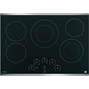 GE PP9030SJSS 30 Inch Smoothtop Electric Cooktop with 5 Radiant, Left-Side Bridge SyncBurners, Glide Touch Controls, Multi-Element Timers and Melt/Keep Warm Setting