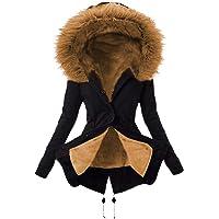 Onsoyours Mujer Abrigos Largo con Capucha Cuello De Piel Manga Larga Abrigo Clásico De Color Liso Parka Invierno Outwear…