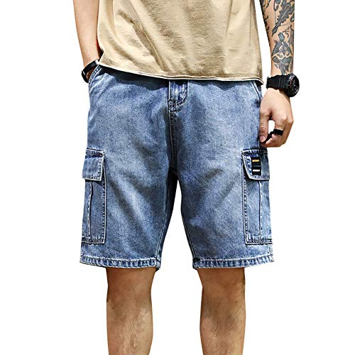 LONGBIDA Men's Loose Fit Denim Cargo Shorts with Multi Pockets(Blue,36)
