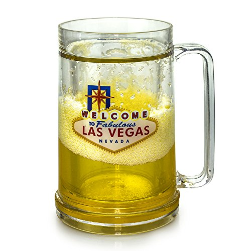 Mug Freezer 2 PACK Welcome to Las Vegas Ice Cold Beer & Beverages 14 oz just fill it up and freeze! Highest Quality 14 oz Insulated Freezer Mug Beer Mug with Freezing Gel Gift Box