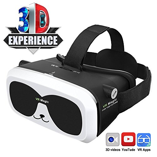 ZJWL 3D Glasses VR Headset for 3D Videos & Games, HD Lens Earphone Placeable Adjustable Strap Fit 4.0-6.0 Inches iPhones/Android Phones/Most Smartphones Lightweight 360-degree VR Goggles Panda VR Box
