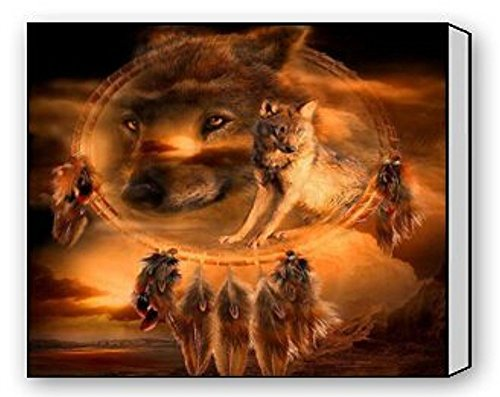 Wolf Indian Poster - EZON-CH Modern Art Native American Indian Wolf Dreamcather The Picture Print On Canvas Animal Pictures Wall Art And Home Decoration Artwork 20IN X 25IN