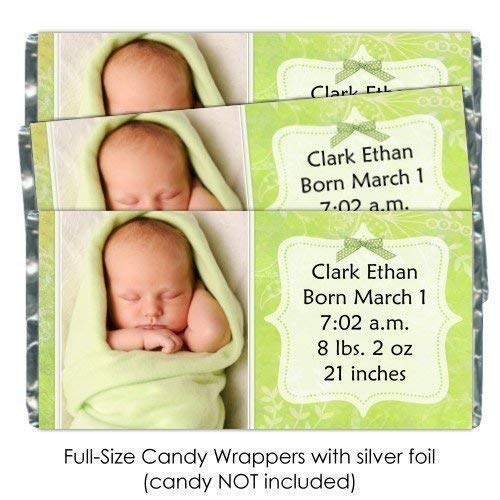 25 New Baby or Baby Shower Candy Wrappers, Birth Announcement Custom Wrappers