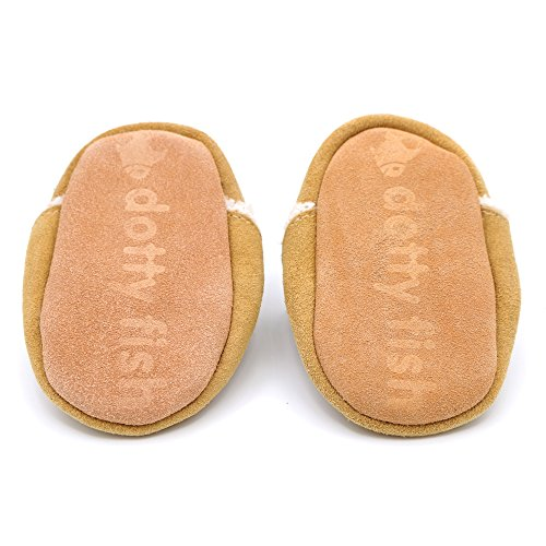 Confortables chaussons pour bébé à semelles en daim fauve brun Marron, Dotty Fish garçons filles - 2-3 ans