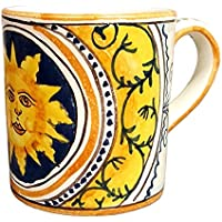 CERAMICHE D'ARTE PARRINI - Italian Ceramic Art Pottery Mug Cup Decorated Sun Hand Painted Made in ITALY Tuscan