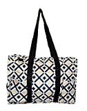 Fashion Print Zip Top Organizing Beach Bag Tote Diaper Bag Weekender - Can Be Personalized (Gold/Black Diamond)