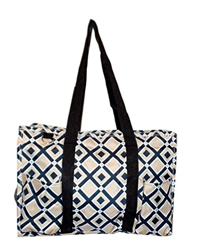 Fashion Print Zip Top Organizing Beach Bag Tote Diaper Bag Weekender - Can Be Personalized (Gold/Black Diamond) - Zip Top Fashion Tote
