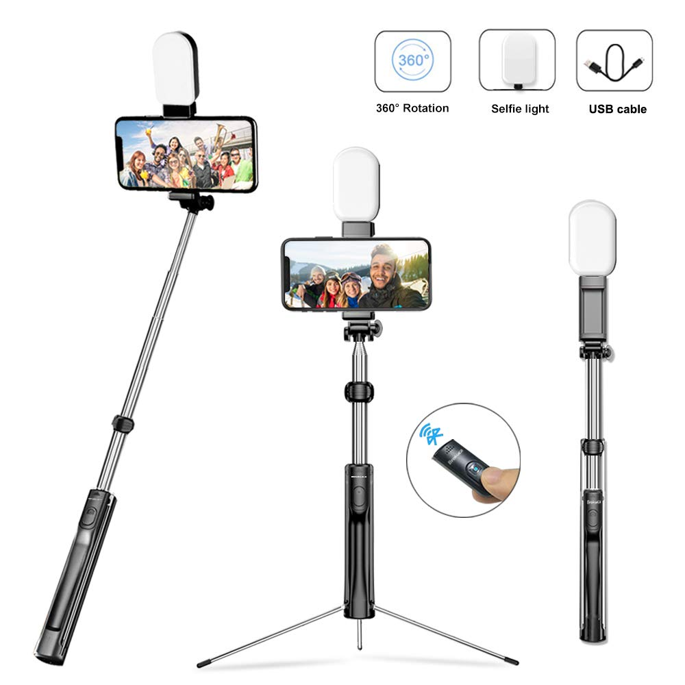 Brokuca Selfie Stick Tripod, 63 Inches Extendable Camera Tripod with Bluetooth Remote Shutter and Selfie Light, Compatible with iPhone Xs/XR/XS Max/X/iPhone 8/8 Plus/iPhone 7/7 Plus, Galaxy S9 Plus by Brokuca