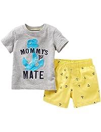 Conjunto de playera estampada con frase y pantalones cortos amarillos, 2 piezas, para niños