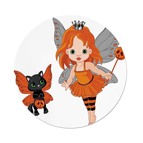 iPrint Polyester Round Tablecloth,Halloween,Halloween Baby Fairy Her Cat in Costumes Butterflies Girls Kids Room Decor Decorative,Multicolor,Dining Room Kitchen Picnic Table Cloth Cover Outdoor Indo for $<!--$21.66-->