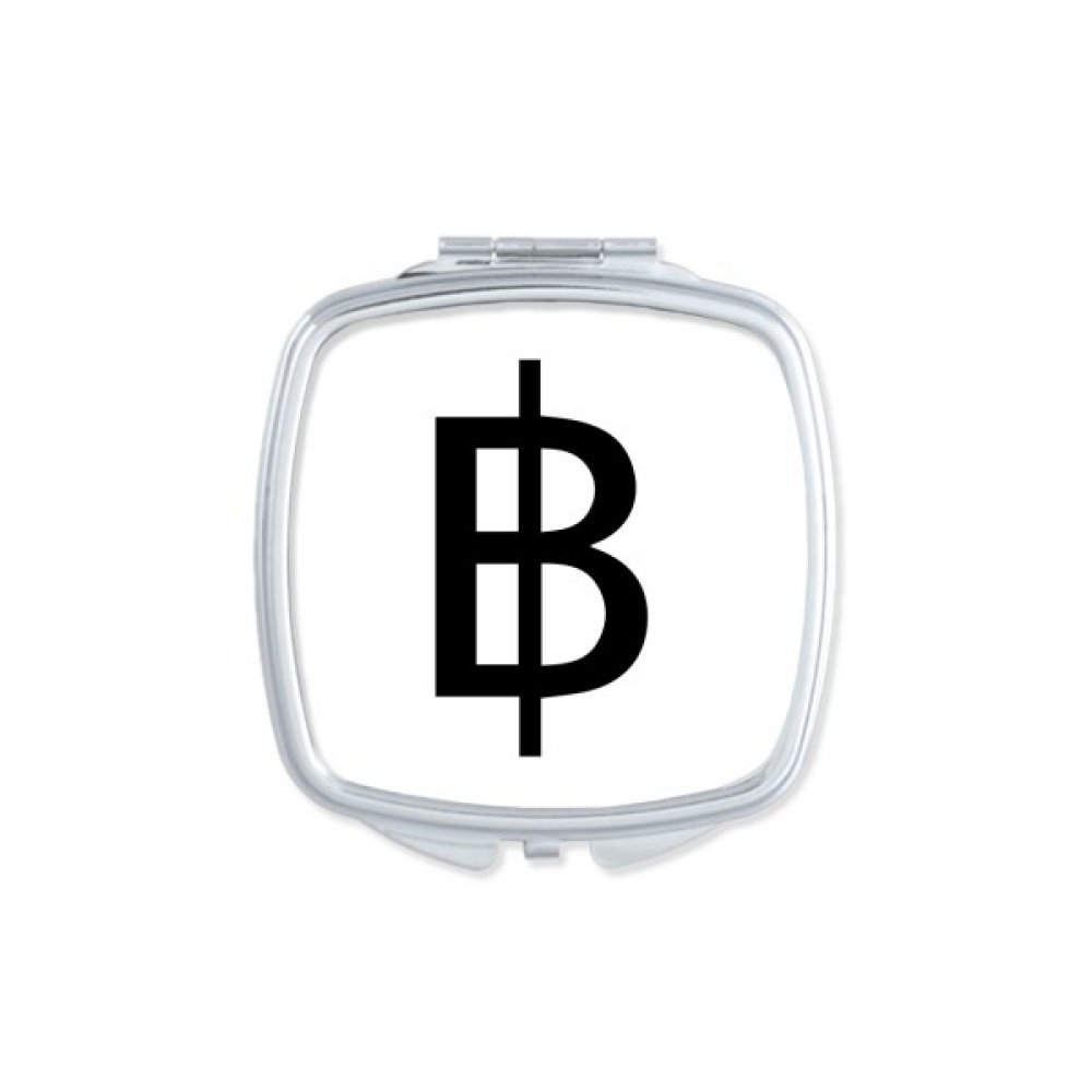 DIYthinker Currency Symbol Thai Baht Square Compact Makeup Pocket Mirror Portable Cute Small Hand Mirrors Gift