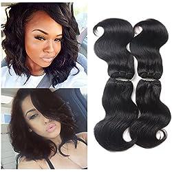 "Brazilian Hair Body Wave 4 Bundles 8"" Inch Short Curly Human Hair Extension Grade 7A Brazilian Virgin Hair Weave Bundles 50g/Pcs Total 200g (Natural Color)"