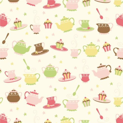 Walls 360 Peel & Stick Wall Decals: Caleb Gray Studios Tea Party Dishes Wall Tile (54 in x 54 in)