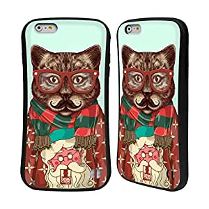 Head Case Designs Cat Hipster Animals in Sweaters Hybrid Gel Back Case for Apple iPhone 6 Plus 5.5
