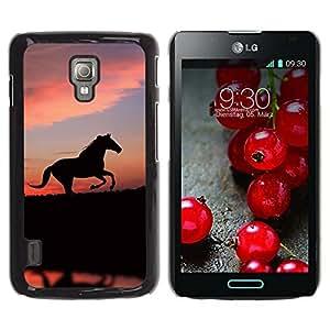 Paccase / SLIM PC / Aliminium Casa Carcasa Funda Case Cover - cute animals horse - LG Optimus L7 II P710 / L7X P714