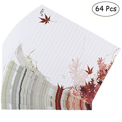 Bolbove 64 Pcs Lovely Plant Elegant Fall Maple Leaves Letter Writing Stationery Paper Lined Sheets -