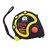 JSHOTS Tape Measure,Inches And Metric Measurement 25ft(7.5m), Tape Measure Retractable,Measuring Tape,Strong Belt Clip,Impact Resistant Rubber Covered Case
