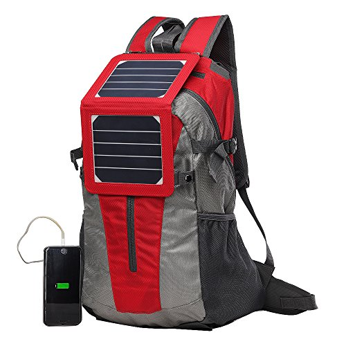 ECEEN Solar Backpack with External Frame Bag, 5 Watts Solar Panel & Built-in 2000mAh Battery Pack Backup for Cycling Trekking Climbing Hiking Backpacking Outdoors Emergency Cell Phone Iphone and More
