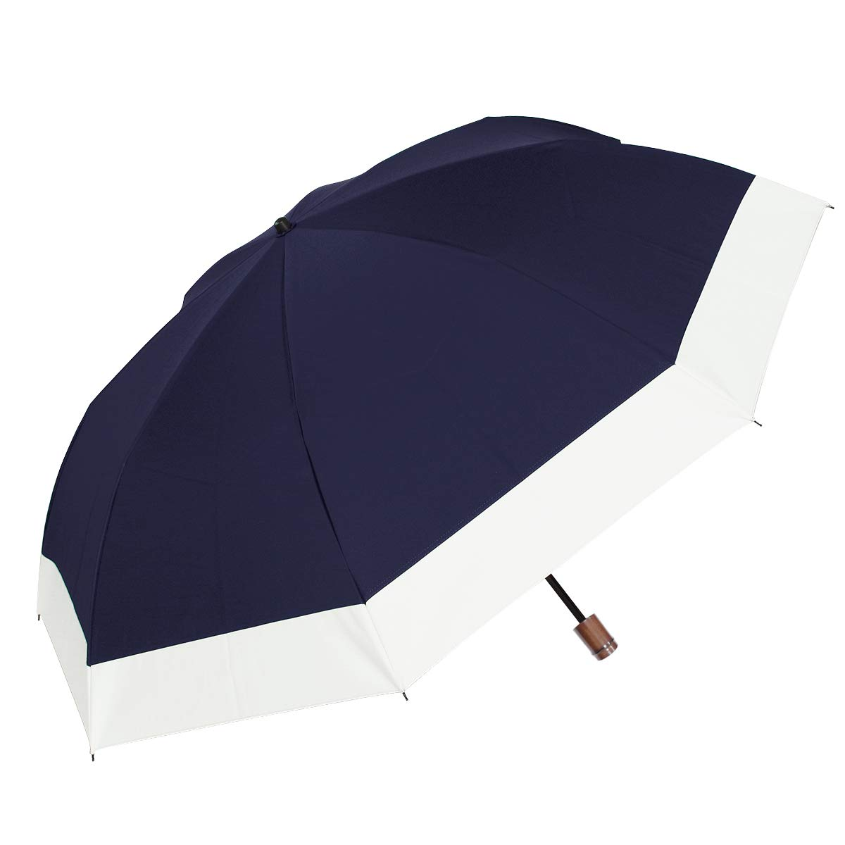 【Rose Blanc】100%完全遮光 日傘 晴雨兼用 コンビ(傘袋付) 2段折りたたみ 男女兼用 ラージサイズ 60cm (ネイビー×アイボリー) B07P62HQY9 ネイビー×アイボリー