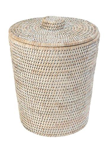 KOUBOO La Jolla Rattan Round Waste Basket with Plastic Insert & Lid, White Wash