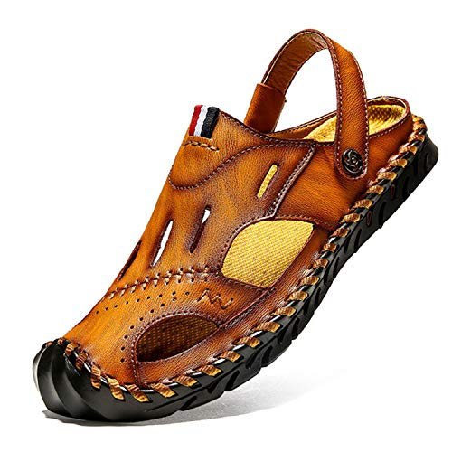New Men Sandals Waterproof Man Beach Casual Sandals Summer Genuine Leather Male Leisure Slippers,Yellow ()