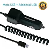 travel micro usb charger - Micro USB Car Charger, Ultra Fast Travel Adapter with Extra Length Built-in Micro USB connector for Samsung Galaxy S7 S6 S5 S4 S3 Galaxy Tab Note 5 4 3 2 Google Nexus 7 & Extra USB Port (Black)
