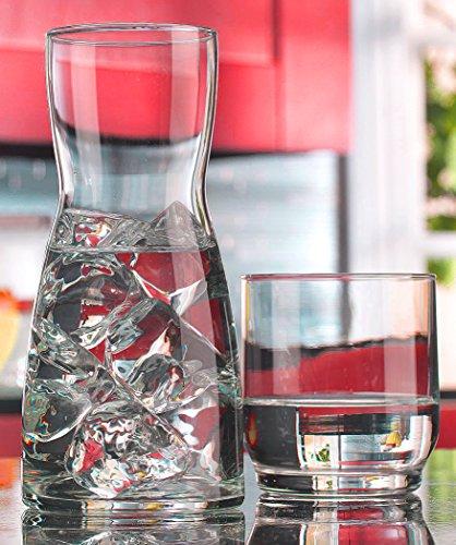 Palais Glass Carafe Set - Bedside Night Carafe 17 Oz with Tumbler Glass 10 Oz (Carafe Glass Set)