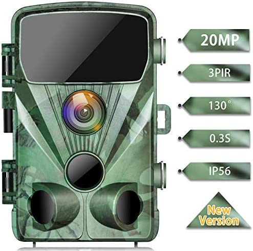 TOGUARD Trail Camera 20MP 1080P Game Cameras with Night Vision 2.4 LCD 130 Detection Motion Activated Waterproof Deer Trap Cam for Hunting and Wildlife Monitoring