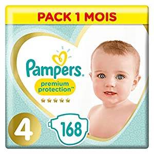 Couches Pampers Taille 4 (9-14 kg) - Premium Protection Couches, 168 couches, Pack 1 Mois 9