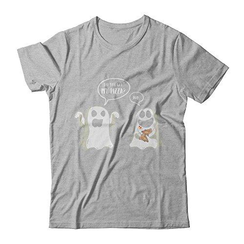 CenturyTee Unisex Funny Ghost Halloween Pizza Costume Shirt Next Level - Unisex Fitted Tee (Heather Gray, 3XL) ()