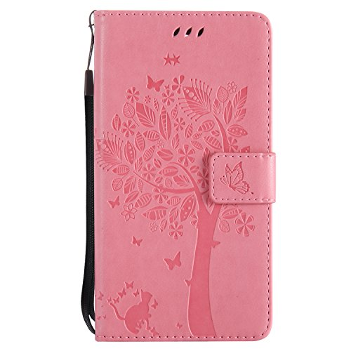 LG Stylus 3Plus Flip Cuero Funda - Alta Calidad Cuero de la PU /Stent/Billetera/Paquete de Tarjetas/Proteccion Caso Cubrir para LG Stylus 3Plus(Rosa) Rosa