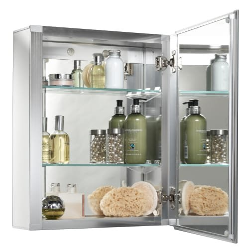 Jacuzzi PD40000 20'' H x 16'' W x 5-1/4'' D Single Door Medicine Cabinet, Silver Aluminum