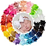 WillingTee 6 inches Grosgrain Ribbon Hair Bows Headbands for Baby Girls and Toddlers 20 pieces: more info