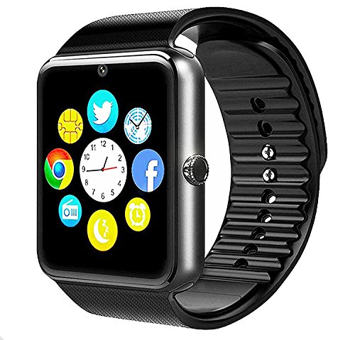 GT08 Bluetooth Smart Watch for Android phones,smart watch with SIM Card Slot,Call,Massage,For IOS iphone and Android phones Samsung ZTE Sony LG Smartphones, Sweatproof(Silver-Black)
