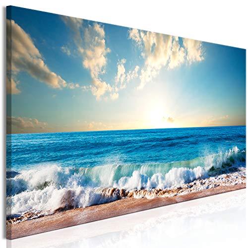 murando Cuadro en Lienzo Mar Playa 135x45 cm 1 Parte impresion en Material Tejido no Tejido Cuadro de Pared impresion artistica fotografia Imagen grafica decoracion Cielo Azul c-B-0384-b-a