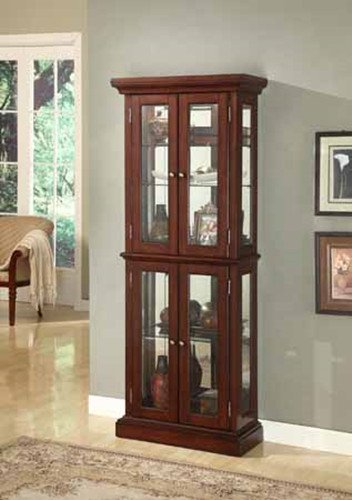 Brand New 27'' x 12'' x 70''H Vintage Look Cherry Wood Finish Curio Cabinet